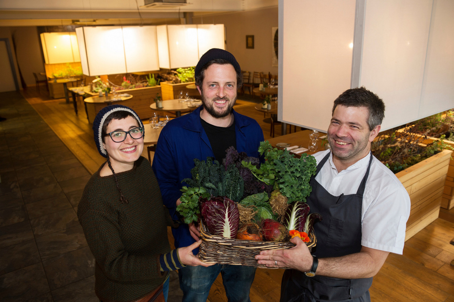 Feature Farm to fork Emanuela Russo and Fergal Anderson with Loam Chef Enda McEvoy and veg from the couple's garden Photo:Andrew Downes
